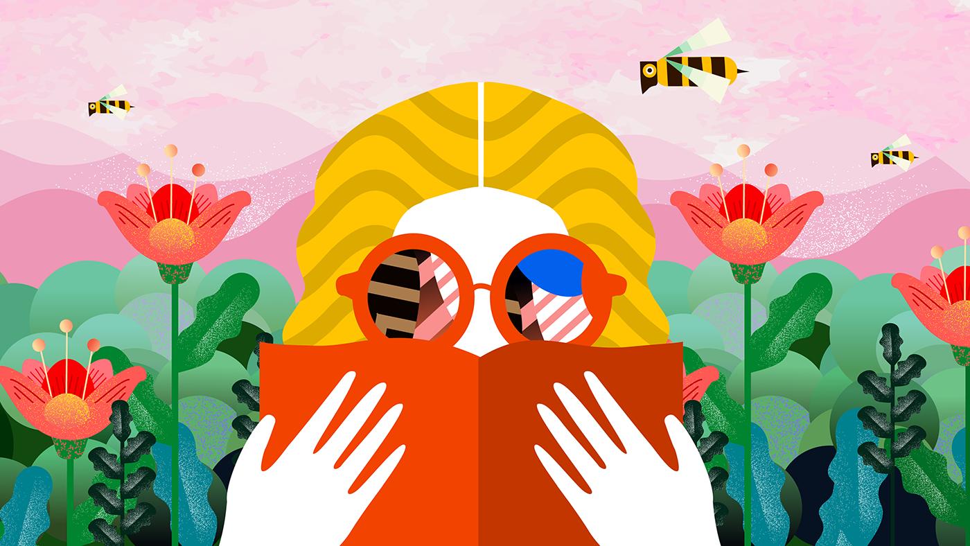 Nainen lukee kirjaa aurinkolasit päässä, ja ampiaiset lentävät kukkien ympärillä.